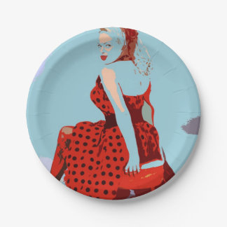 Cool Retro Polka Dot Lady Rock & Roll Style 7 Inch Paper Plate