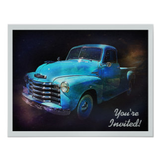Cool Retro Truck Birthday or Retirement Party Card