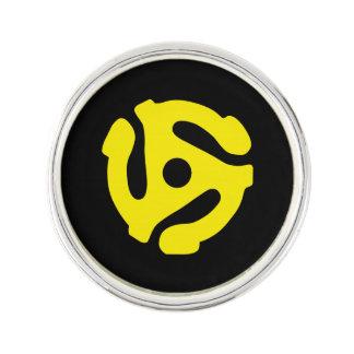 COOL Retro Vintage Yellow 45 spacer DJ Print Lapel Pin
