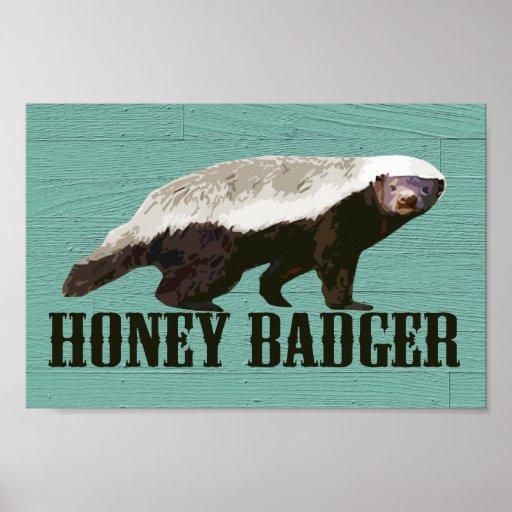 Cool Rustic Honey Badger Posters