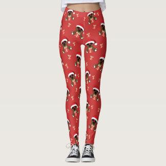 Cool Santa Bear and Christmas gift pattern Red Leggings