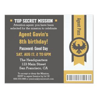 Cool Secret Agent Birthday Party Invite
