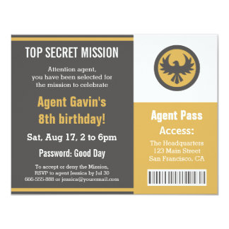 Cool Secret Agent Birthday Party Custom Announcements