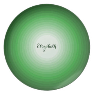 Cool Shades of Green Circles Personalized Name Fun Dinner Plates