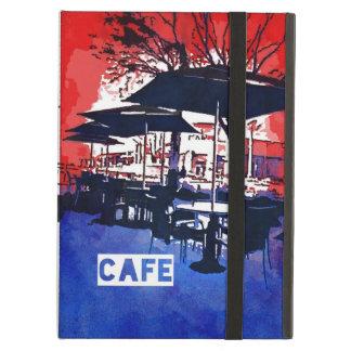 Cool Sidewalk Cafe Red Blue Pop Art Design iPad Air Cover