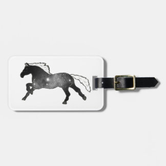 Cool Simple Horse Black and White Nebula Galaxy Luggage Tag