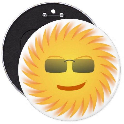 COOL SMILEY FACE SUNSHINE BUTTON