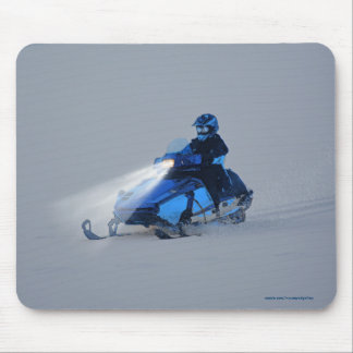 Cool Snowmobiler on Ice Lake Winter Sports Theme 2 Mouse Pad