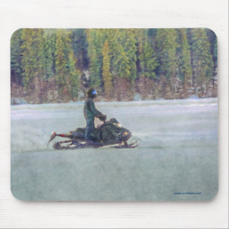 Cool Snowmobiler on Ice Lake Winter Sports Theme Mouse Pad