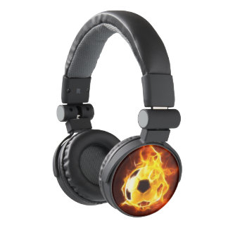 Cool Soccer Ball On Flames Soccer Ball Of Fire Headphones