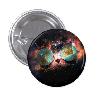 Cool Space Cat with Telescope Glasses in space 3 Cm Round Badge