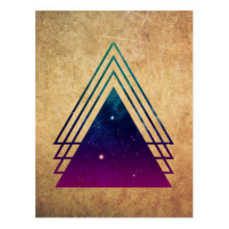 Cool Space Triangles on Grunge Background Postcard