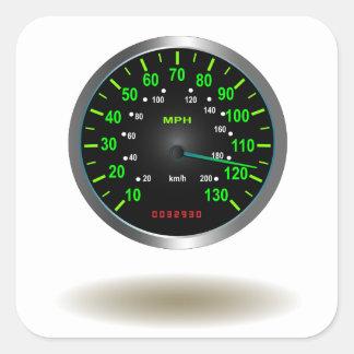 Cool Speedometer Emblem Square Stickers