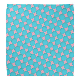 Cool Stylish Teal Blue Pink Polka Dots Bandana