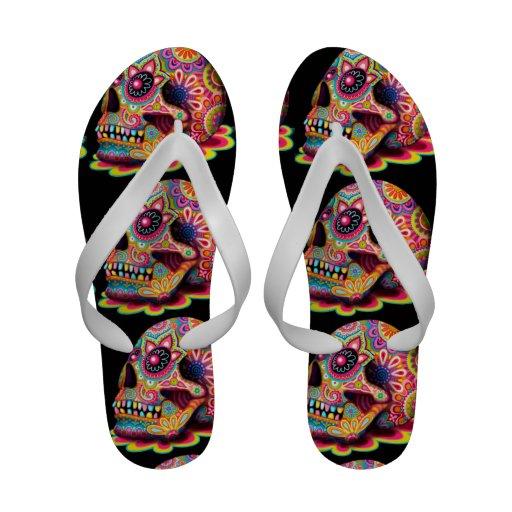 Cool Sugar Skull Flip-Flops - Day of the Dead Art!