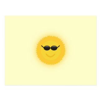Cool sun with sunglasses in a cool sunny day postcard