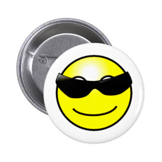 Cool Sunglasses Yellow Smiley Face Pinback Button
