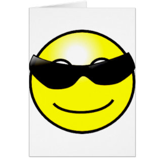 Cool Sunglasses Yellow Smiley Face Greeting Cards
