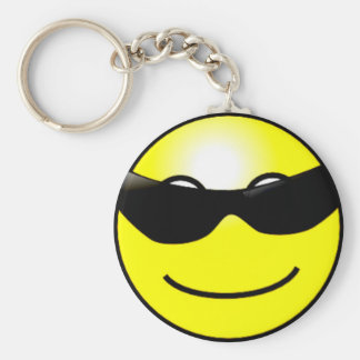 Cool Sunglasses Yellow Smiley Face Key Chain
