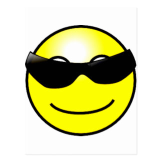 Cool Sunglasses Yellow Smiley Face Postcards