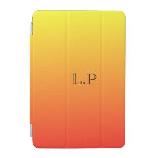 Cool Sunset Orange Monogram iPad Mini Cover