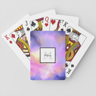 Cool Surreal Space Clouds Watercolor Monogram Playing Cards