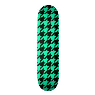 Cool Teal  Black Design Awesome Funky Houndstooth Custom Skate Board
