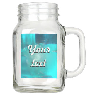Cool Teal Blue Liquid Plastic Design Mason Jar
