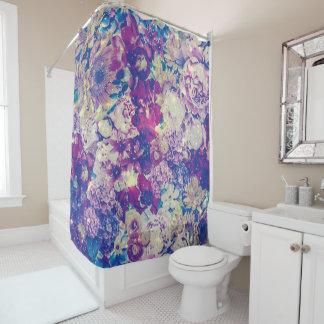 Cool Toned Interstellar Blooms Shower Curtain