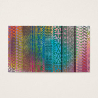 Cool trendy Aztec geometric pattern colourful Business Card