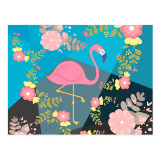 Cool Trendy Chic Cute Pink Girly Floral Flamingo Postcard