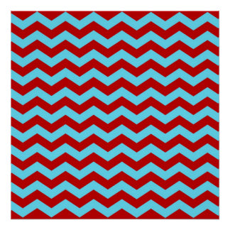 Cool Trendy Teal Turquoise Red Chevron Zigzags Poster