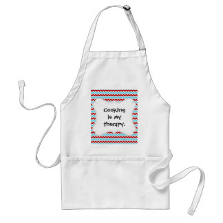Cool Trendy Teal Turquoise Red Chevron Zigzags Standard Apron