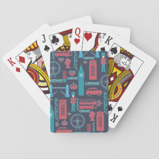 Cool trendy vintage London illustrations pattern Playing Cards