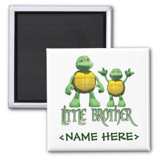 Cool Turtles Little Brother Square Magnet