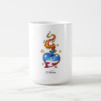 Cool USA themed Heart with flame tattoo Mug