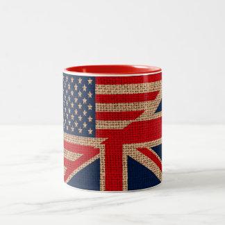 Cool usa union jack flags burlap texture effects Two-Tone coffee mug