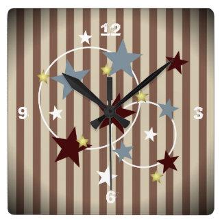 Cool Vintage Circus Stars and Stripes Wall Clocks