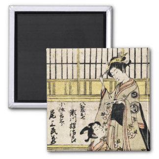 Cool vintage japanese ukiyo-e geisha old scroll square magnet