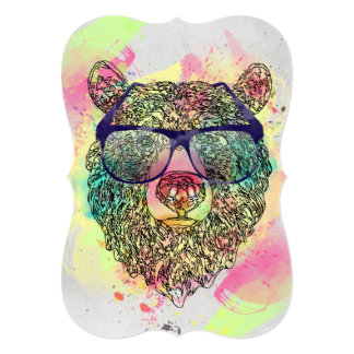 Cool watercolor bear with glasses design card