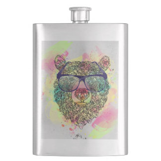 Cool watercolor bear with glasses design hip flask