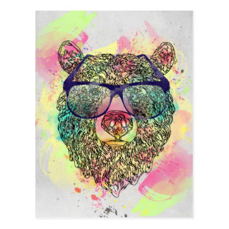 Cool watercolor bear with glasses design postcard
