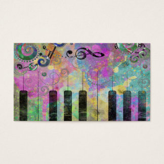Cool watercolours splatters colourful piano business card