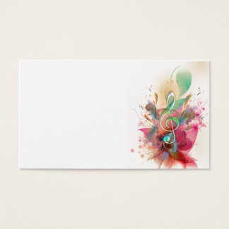Cool watercolours treble clef music notes swirls business card