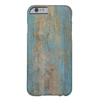 Cool Weathered Blue Peeling Paint Wood Texture Barely There iPhone 6 Case