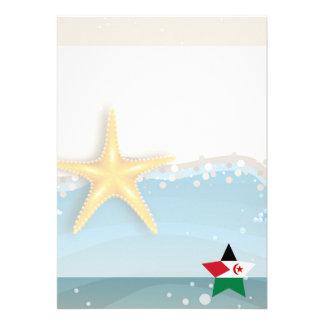 Cool Western Sahara Flag at the Beach 13 Cm X 18 Cm Invitation Card