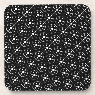 Cool White Star Inspired Pattern on Black Space Coaster