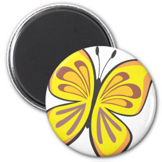 Cool Yellow Butterfly Cartoon 6 Cm Round Magnet