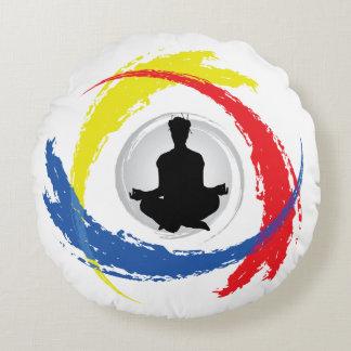 Cool Yoga Tricolor Emblem Round Pillow