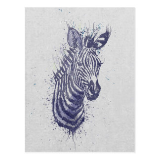 Cool zebra animal watercolour  splatters  paint postcard
